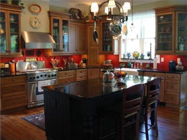 Red Beadboard Backsplash Kitchen  Kitchen  Pinterest