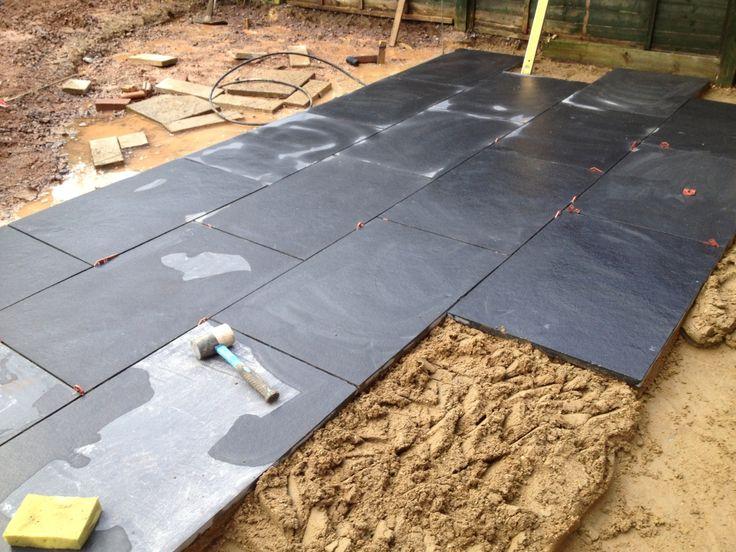 laying black limestone paving paving floors pinterest. Black Bedroom Furniture Sets. Home Design Ideas