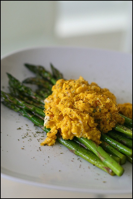 Garlic Scape Pesto Scrambled Eggs With Asparagus And Mushrooms Recipe ...