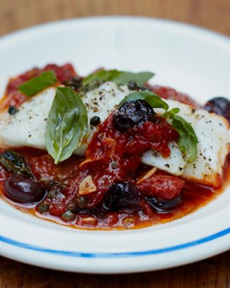 Baked fish with olives and a simple tomato sauce