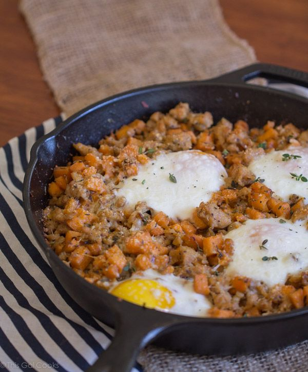 Sausage and Sweet Potato Hash with Baked Eggs - This Gal Cooks. A ...