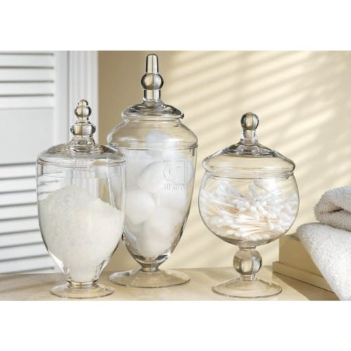 Bathroom Apothecary Jars : Three glass apothecary jars mini candy buffet