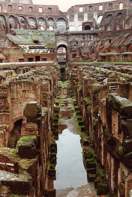 This evocative photograph is dominated by the rain-soaked 'hypogeum' or underground, of the Colosseum. Rome (begun 72AD)