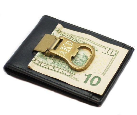 personalized genuine leather money clip card holder bottle opener. Black Bedroom Furniture Sets. Home Design Ideas