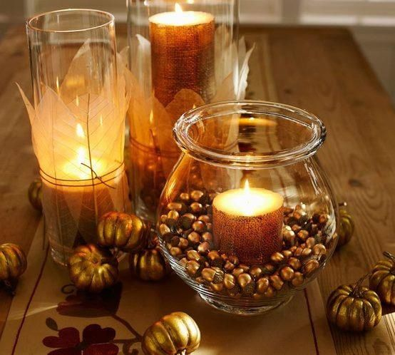 Candles fall centerpiece wedding for Fall candle centerpiece ideas