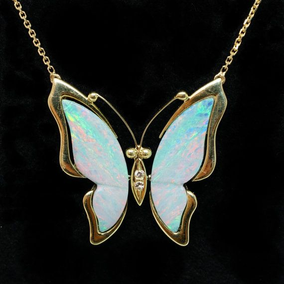 vintage opal butterfly pendant in 14k yellow gold