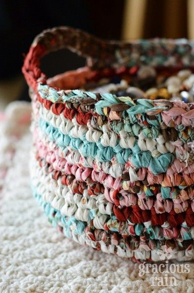 Crocheted caddy in beautiful colours. The strips of fabric are from a ...