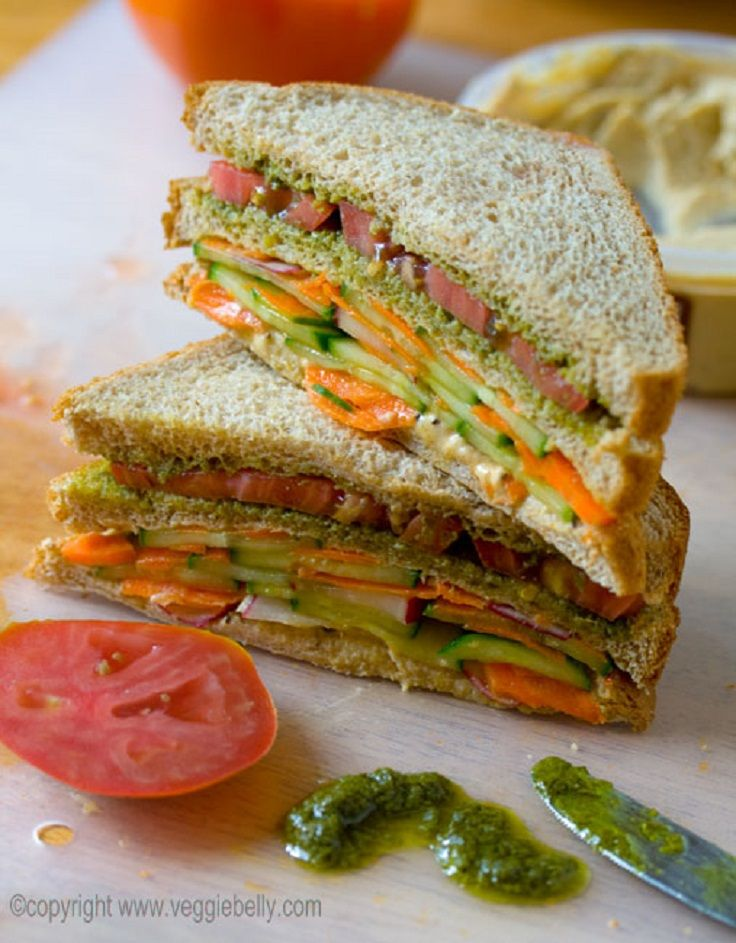 Hummus and Pesto Veggie Sandwich | Between buns | Pinterest