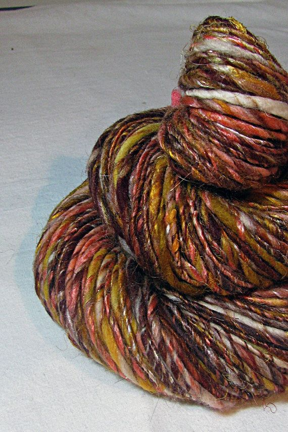 Handspun Art Yarn Sheeping Beauties Autumn by SheepingBeauty, $52.00