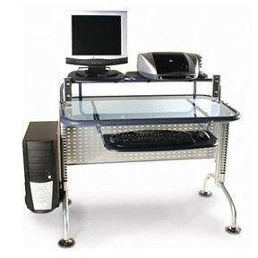 Blue Glass/Metal Computer Desk DP088G90 | For the Home | Pinterest