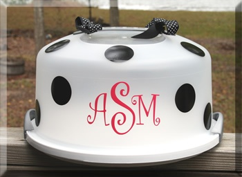 tinytulip.com - Polka Dot Monogrammed Cake Carrier, $28.50 (http://www.tinytulip.com/polka-dot-monogrammed-cake-carrier)