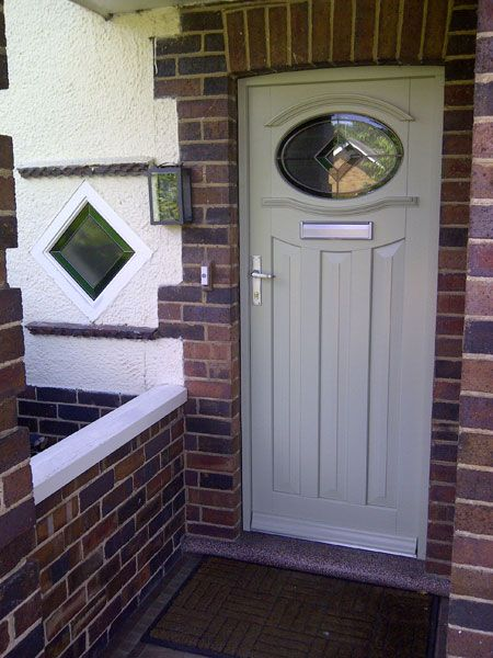 White Wood Front Door With Stained Glass Wooden Front