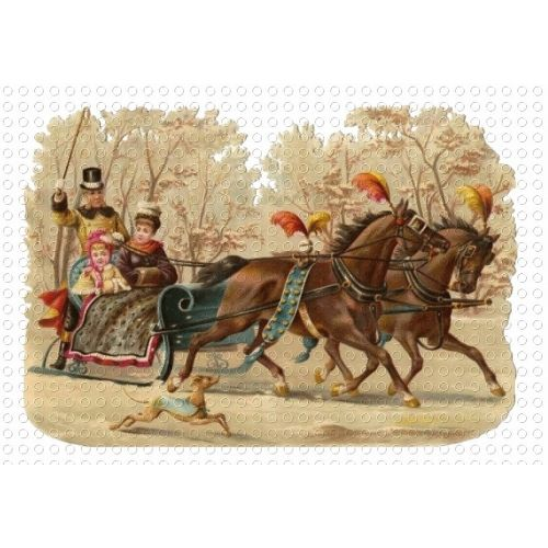 victorian sleds | Victorian Snow Sled Horses Driver GIF Clip Art