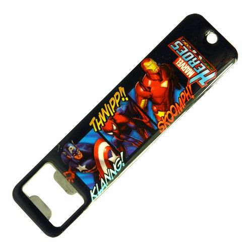 Marvel comics heroes panels bottle opener next to webshooters and a