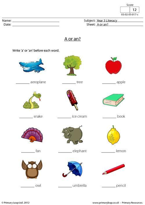 ... .co.uk - A or an? Worksheet | English Printable Worksheets