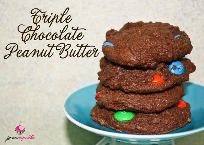 Triple Chocolate Peanut Butter Cookies