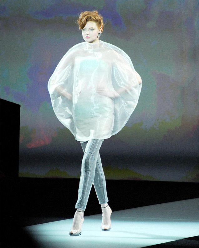 Girl in a plastic bubble at Armani Privé