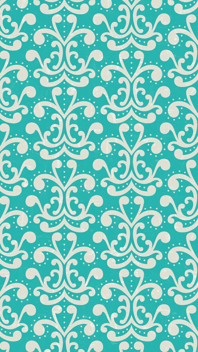 iphone 5 wallpaper - #aqua #damask #pattern