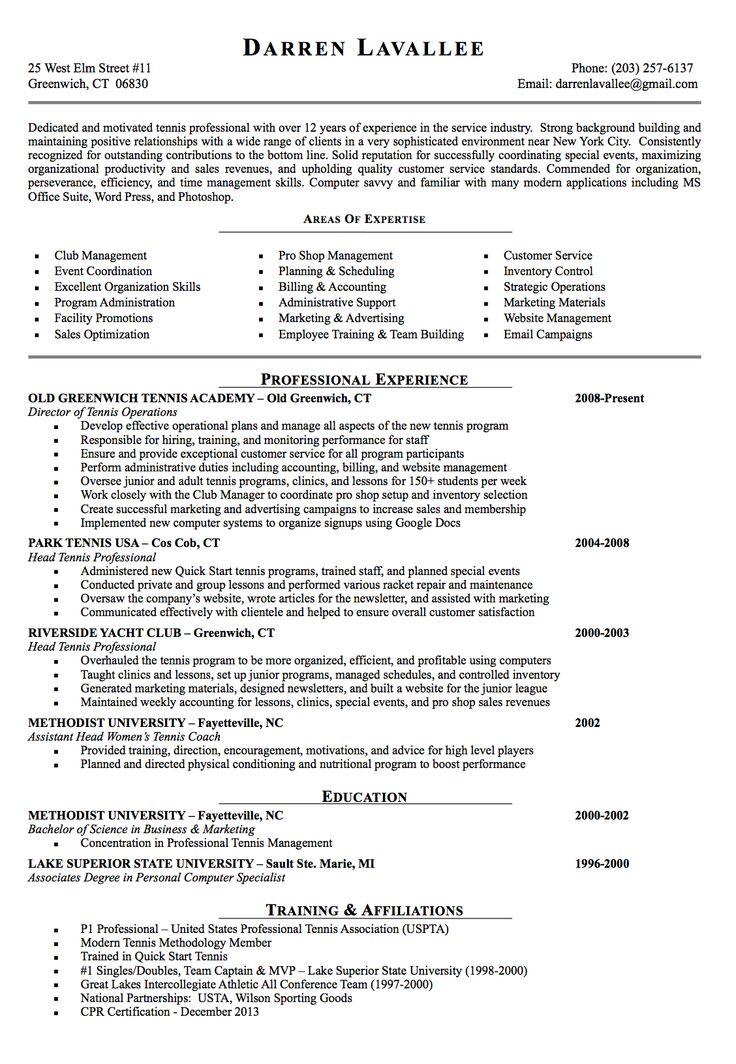tennis resume