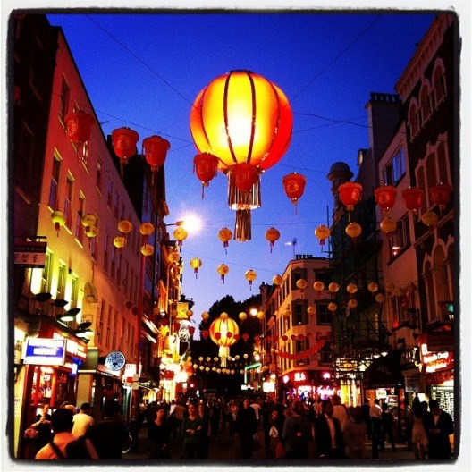 Glowing lanterns above London's Chinatown.