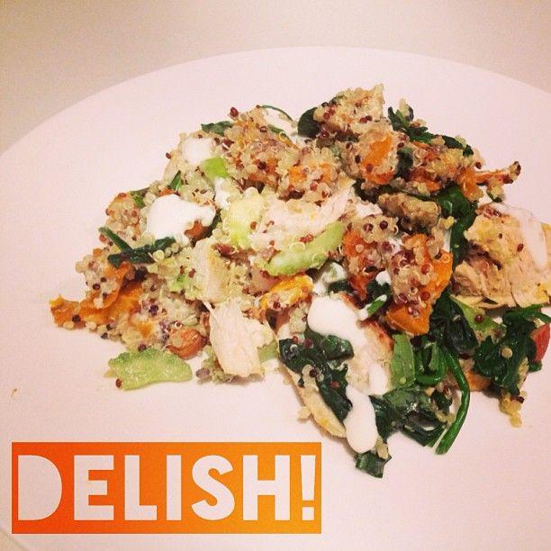 Roast pumpkin, chicken & quinoa salad   Vegetarian Yummies   Pinterest