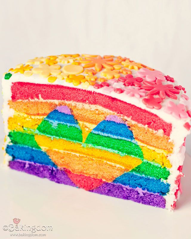 Bright rainbow cake.
