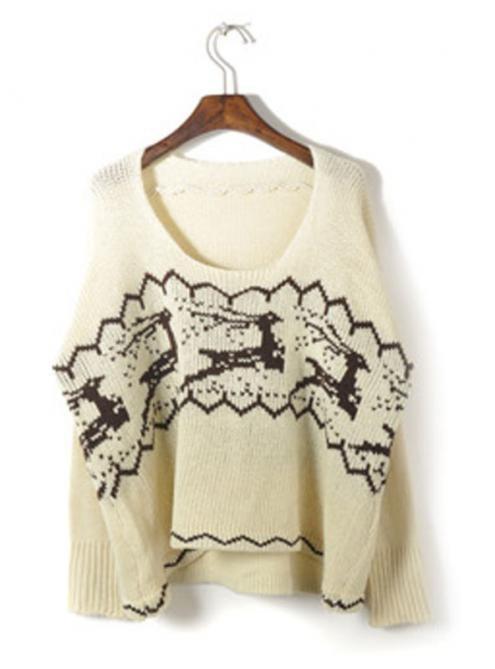 Beige Christmas Deer Sweater - Cute! | Fashionista | Pinterest