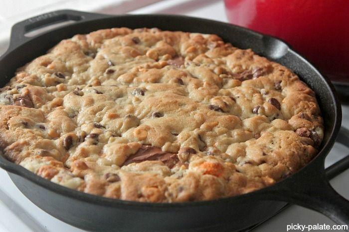 Skillet Baked Candy Bar Stuffed Double Cookie | Recipe