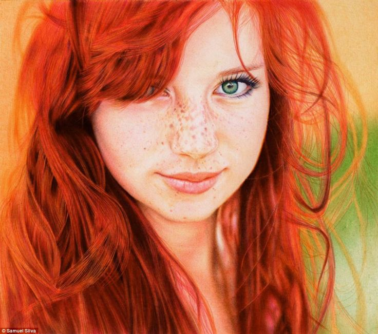 """""""Faux Photo: 'Redhead Girl', based on a photograph by Russian photographer Kristin Taraina, was painstakingly executed by Samuel Silva, a Portugese-based attorney  with six different colored ball point pens."""""""