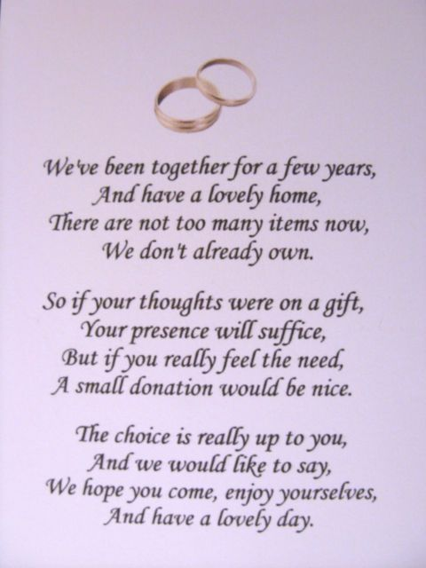 Poems For Wedding Gifts Money : ... Invitation Wording: Wedding Invitation Wording No Gifts Just Money