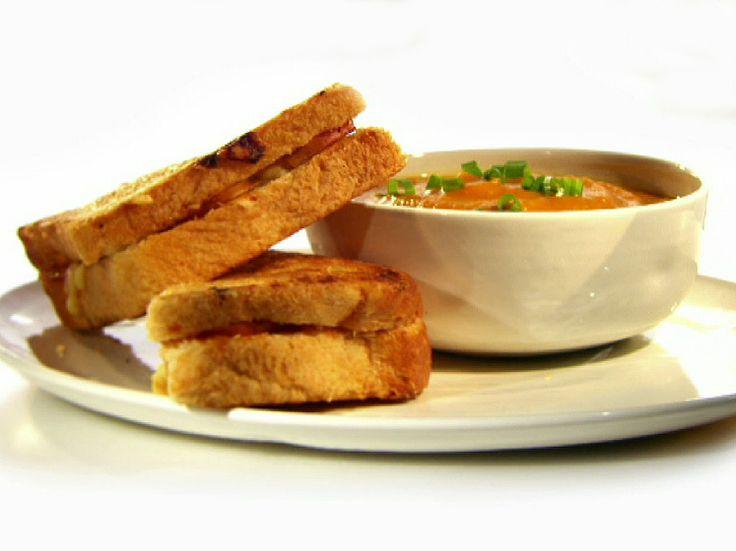 Curried Squash Soup with Apple and Cheddar Melts from FoodNetwork.com ...