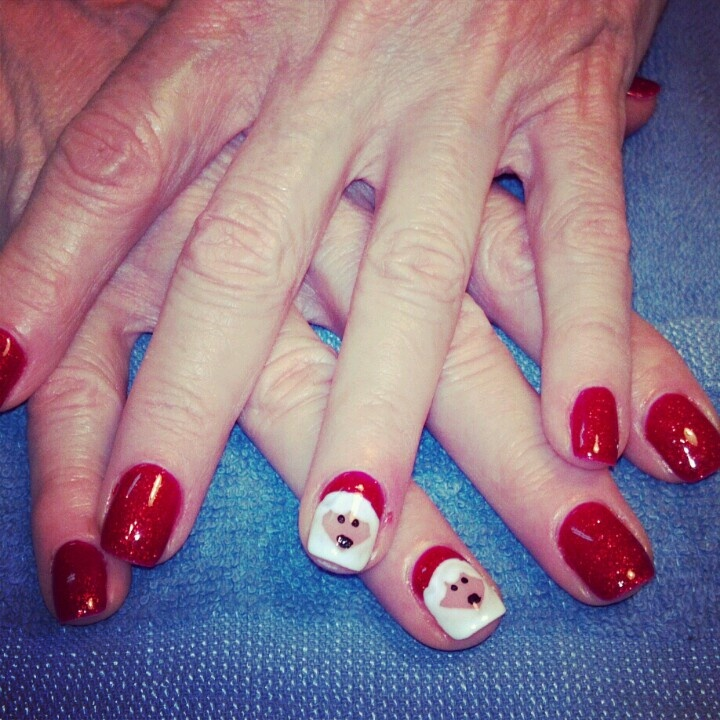 shellac Santa nails | Nails by me! #nailsbytracim | Pinterest