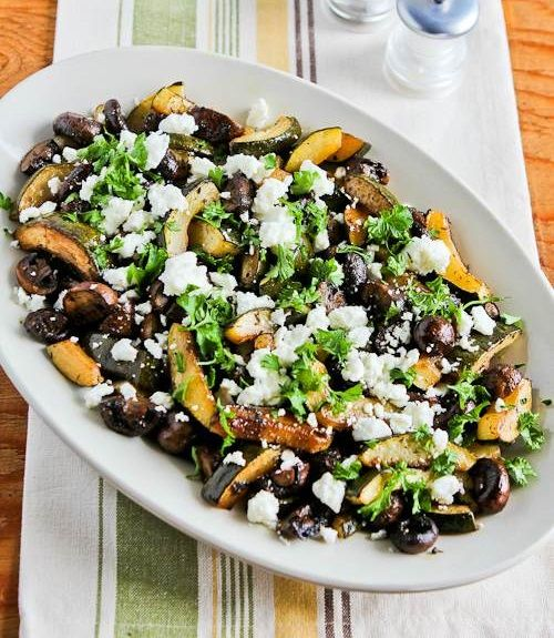 Roasted Balsamic Zucchini and Mushrooms with Feta and Thyme | Recipe
