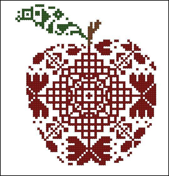 Схема вышивки крестом яблоки 54