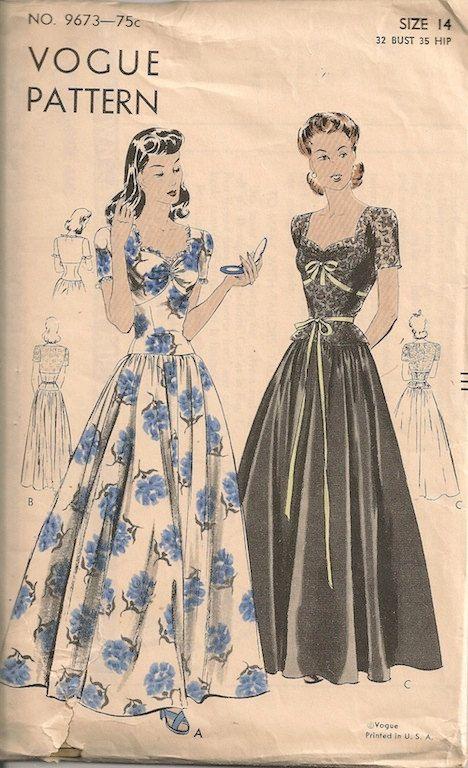 1940s Evening Dress Pattern Vogue 9673.