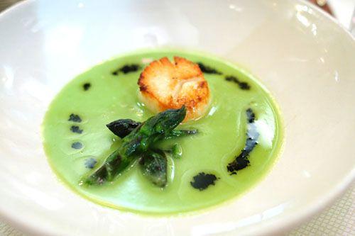 Chez Panisse chilled asparagus soup.