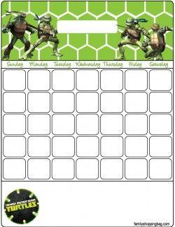 Free Printable Ninja Turtles Calendars