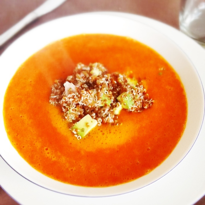 Roasted Red-Pepper Soup with Quinoa Salsa