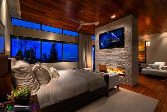 Tv Above The Fireplace In Master Bedroom For The Home
