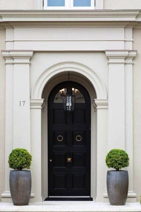 Beautiful black front door home exteriors front doors for Beautiful wood front doors