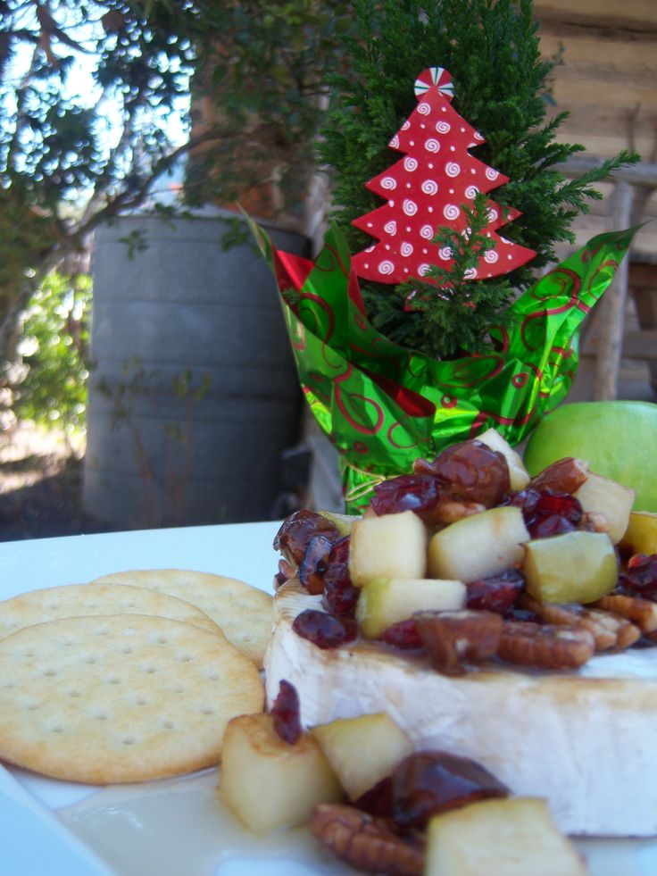 Warm Maple Brie with Apples, Cranberries, Dates & Pecans