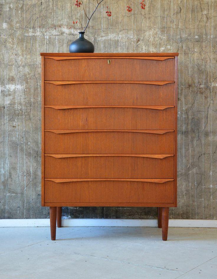 60er teak kommode highboard danish design 60s cabinet. Black Bedroom Furniture Sets. Home Design Ideas