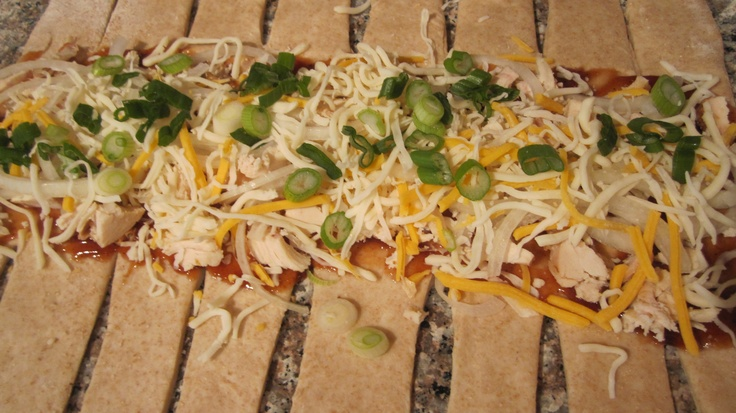 Braided BBQ chicken pizza bread. Just roll out your dough and make ...