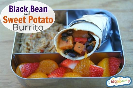 Black bean and sweet potato burritos school lunch ideas via MOMables ...