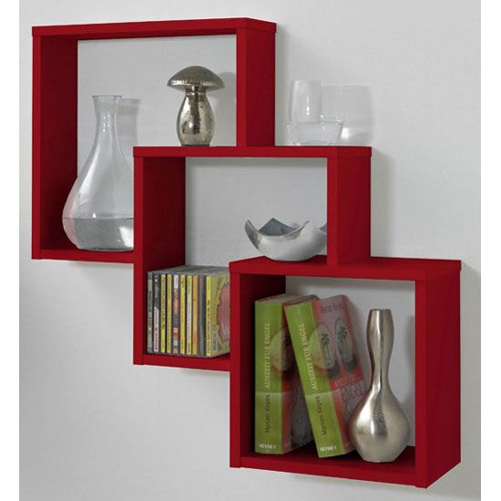 Fibi Trio Wooden Wall Shelf in Red | Home Office Furniture | Pinterest