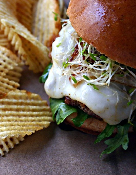 Andouille Slider Burgers w/ Caramelized Onions & Creole Mayo…