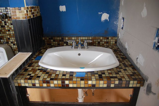 Pin by lisa simmons on home countertop ideas pinterest for Mosaic tile vanity top