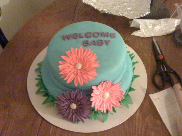 advanced gumpaste flowers. Spring Baby shower - Fondant covered cake ...