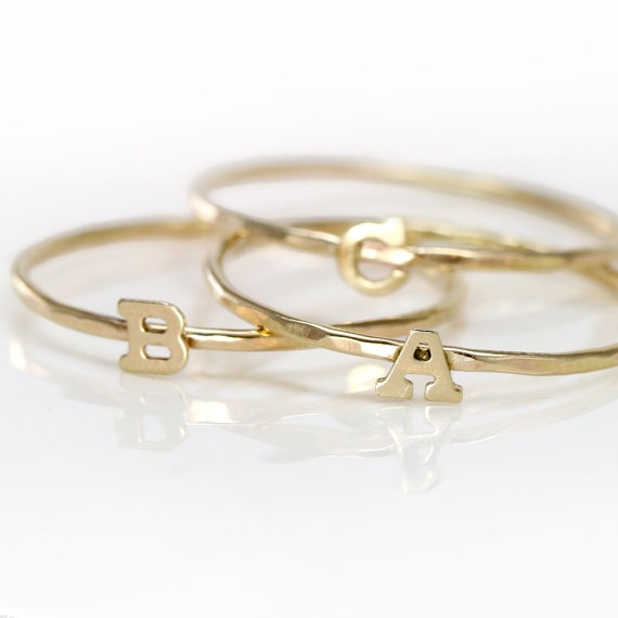 B Letter In Gold Ring Initial Ring Gold, 14k...