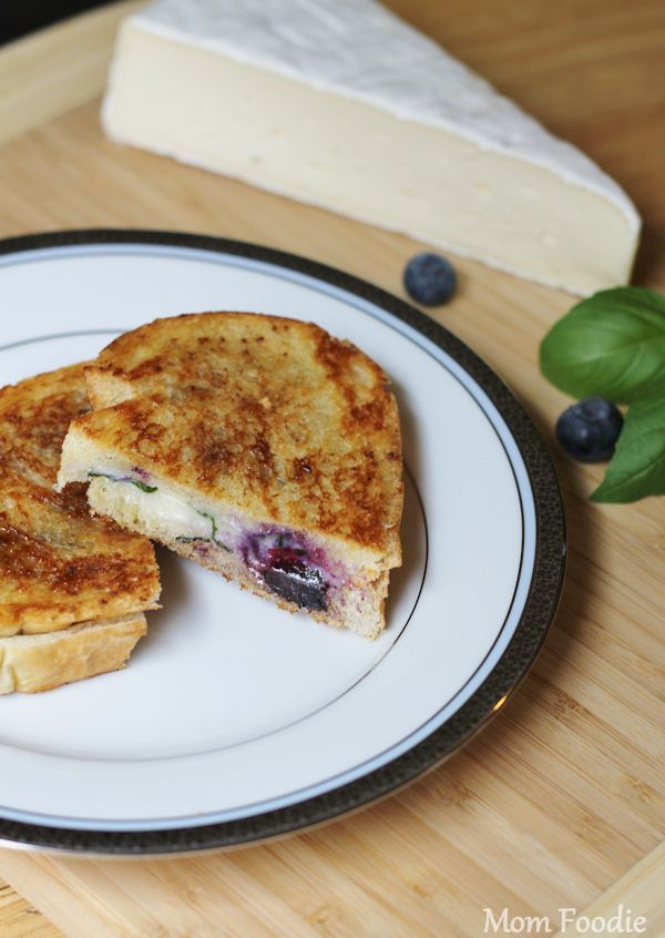 Blueberry brie grilled cheese featuring basil, cinnamon and brown ...